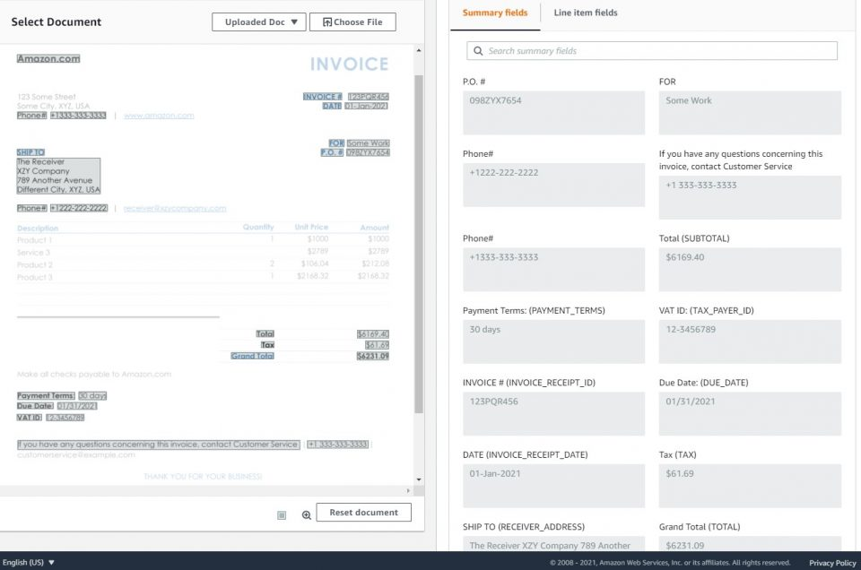 Announcing specialized support for extracting data from invoices and receipts using Amazon Textract